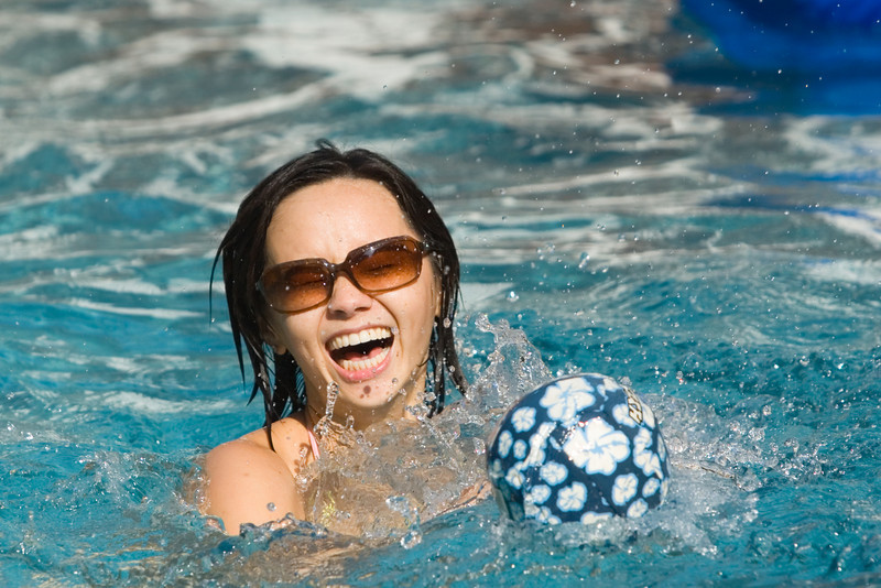 Valerie has a ball in the pool
