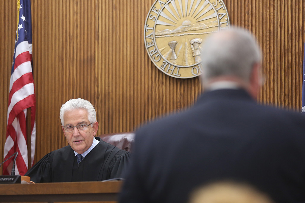 . Michael Allen Blair/MBlair@News-Herald.com Judge Joe Gibson addresses defense attorney Michael J. Connick during Kevin Knoefel\'s murder conspiracy trial in Lake County Common Pleas Court on  June 3, 2014.