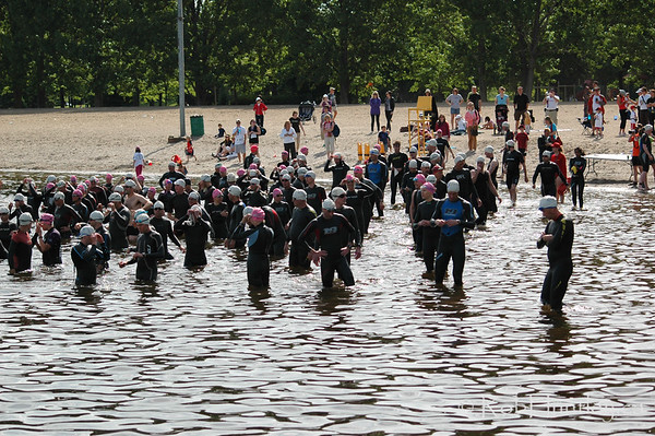 2009 Ottawa Riverkeeper Triathlon. Crowd of swimmers prior to the start of a triathlon event.  © Rob Huntley