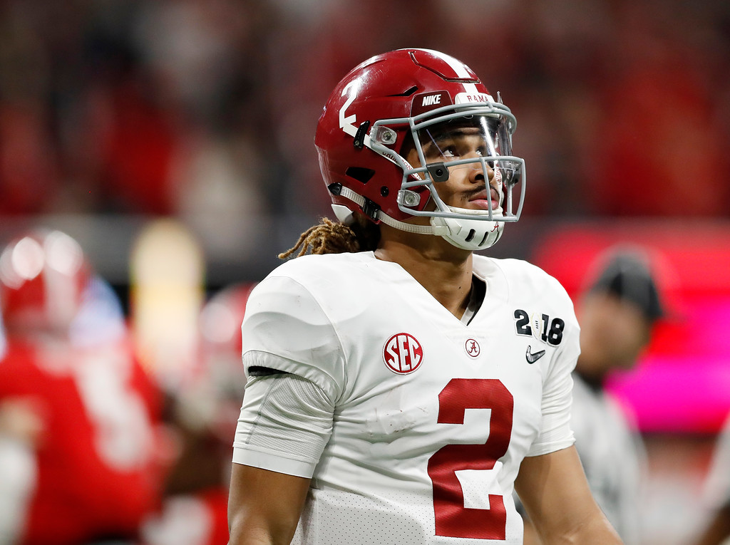 . Alabama\'s Jalen Hurts looks up during the first half of the NCAA college football playoff championship game against Georgia, Monday, Jan. 8, 2018, in Atlanta. (AP Photo/David Goldman)