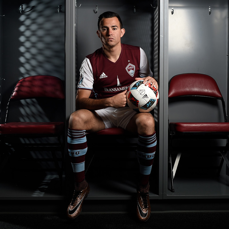 . COMMERCE CITY, CO - FEBRUARY 11: Marco Pappa poses for a portrait during Colorado Rapids media day on Thursday, February 11, 2016. (Photo by AAron Ontiveroz/The Denver Post)