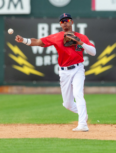 Shortstop Antoni Flores (19) during Game 1 of the New York-Penn League championship series between the Lowell Spinners and Brooklyn Cyclones on Sunday at LeLacheur Park in Lowell. (Lowell Sun / John Corneau)