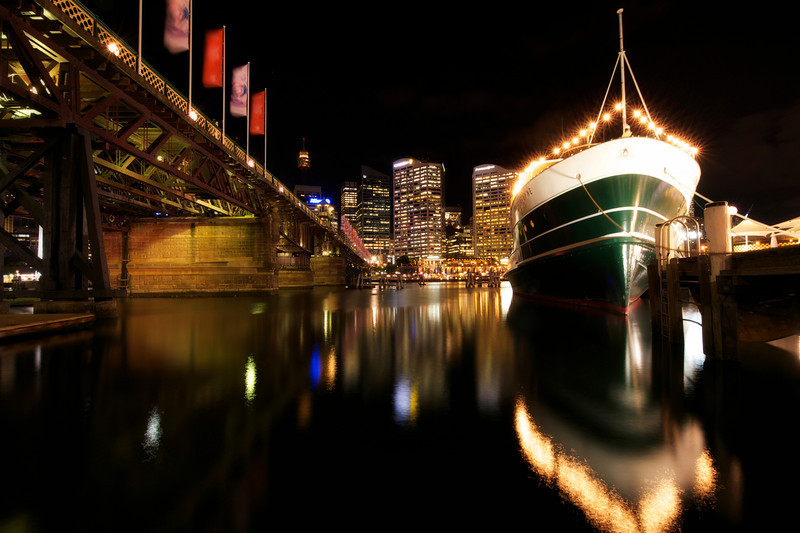 Darling Harbor in Sydney is one of the most beautiful places to take night pictures.  This is a picture of a boat on the docks there.