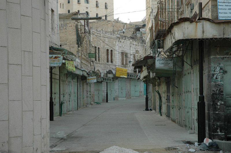 Parts of Hebron were abandoned by Palestinians by order of Israeli Defense Forces, protecting Israeli settlers living in the middle of the city.