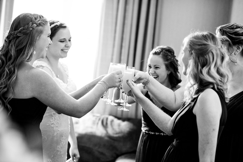 Cheers!! Mimosa's - Yes Please! The girls were excited when wedding coordinator Shannon came into the bridal suite with a tray full of mimosas!