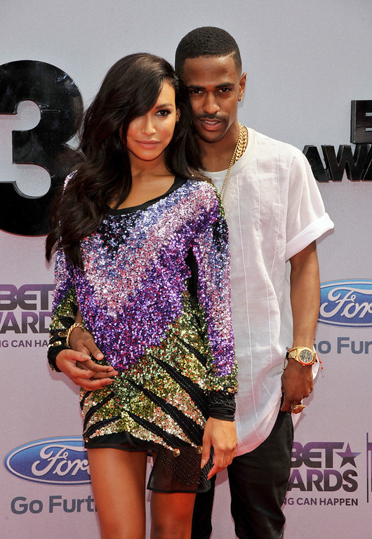 . Naya Rivera, left, and Big Sean arrive at the BET Awards at the Nokia Theatre on Sunday, June 30, 2013, in Los Angeles. (Photo by Chris Pizzello/Invision/AP)