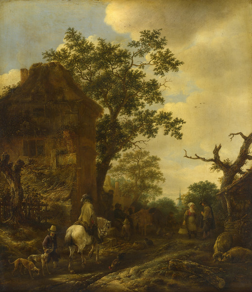 The Outskirts of a Village, with a Horseman
