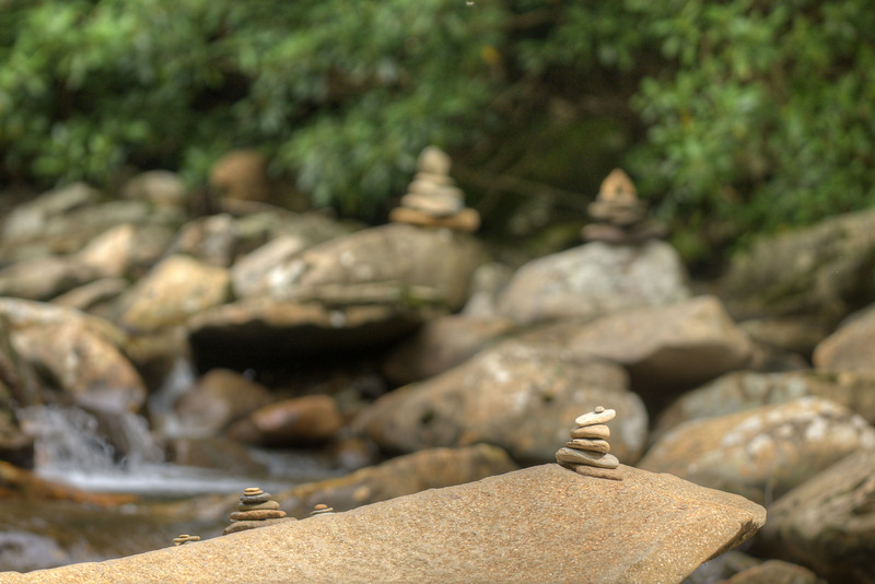 Stacks of rocks along a creek on the side of the highway at the Great Smoky Mountains National Park in Gatlinburg, TN on Sunday, August 4, 2013. Copyright 2013 Jason Barnette