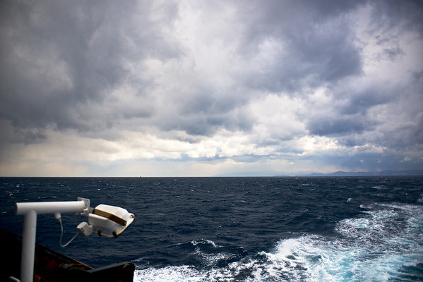 Windy cloudy Aegean sea