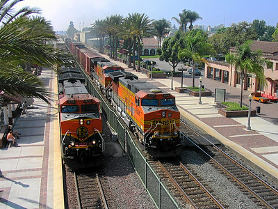 BNSF freight trains at Fullerton, California