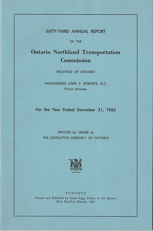 1963 Ontario Northland Transportation Commission Annual Report