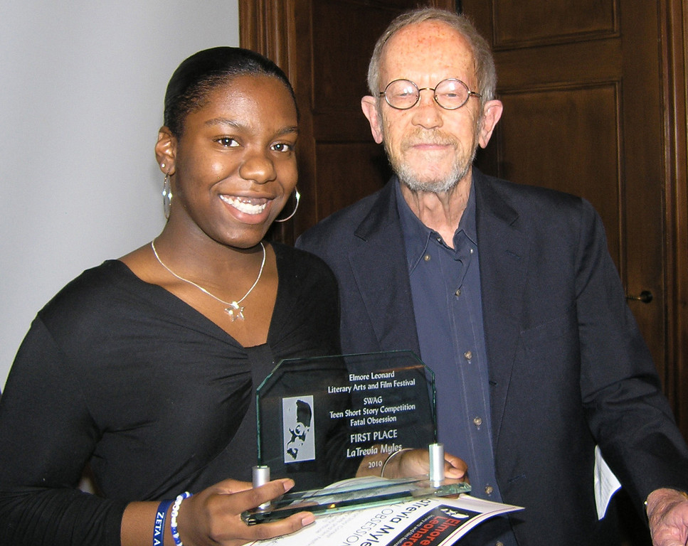 . Photo by Gigi Nichols/Community House Pontiac High School student LaTrevia Myles is a winner of the Elmore Leonard Film Festival short story competition. Here she is with Leonard, a best-selling author who lives in Bloomfield Hills. Story has video by Diana Dillaber Murray