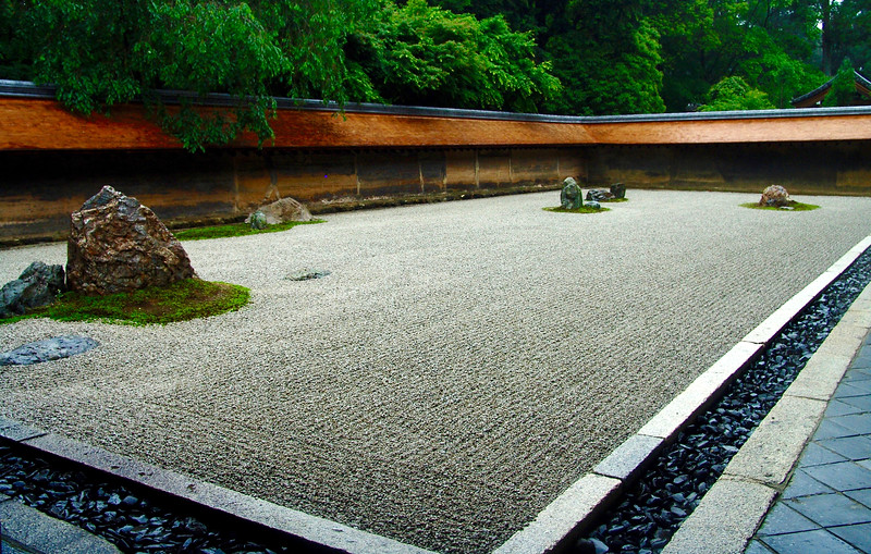 The kare-sansui (dry landscape) garden at Ryoanji Temple, Kyoto