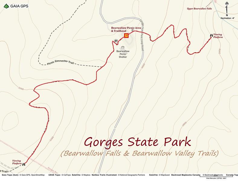 Bearwallow Valley & Upper Bearwallow Falls Hike Route Map