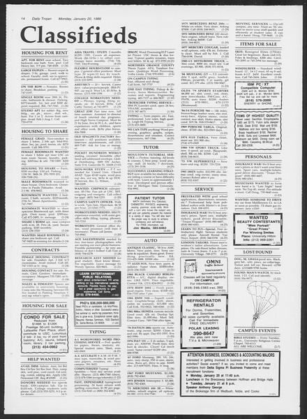Daily Trojan, Vol. 100, No. 7, January 20, 1986