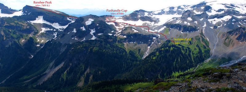 """Looking toward Summerland, Panhandle Gap and Banshee Peak from the summit of Goat Island Mountain. Our route is drawn in red. Best to use """"X3 Large"""" size to view."""