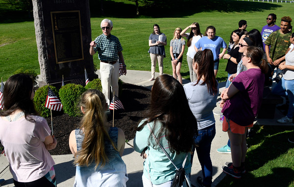 5/24/2018 Mike Orazzi | Staff Tom LaPorte explains the Civil War monument to Bristol high school students Thursday morning on Memorial Blvd.