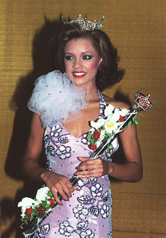 . Vanessa Williams poses after being crowned Miss America 1984 in Atlantic City, N.J., September 17, 1983. (AP Photo/Files)
