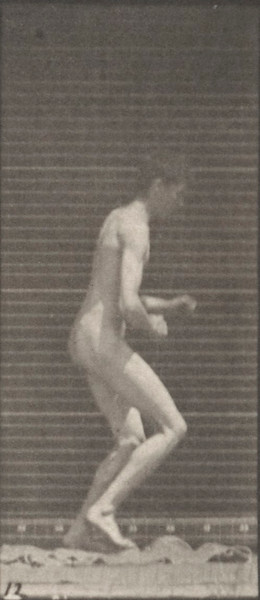 Nude man jumping over a man's back