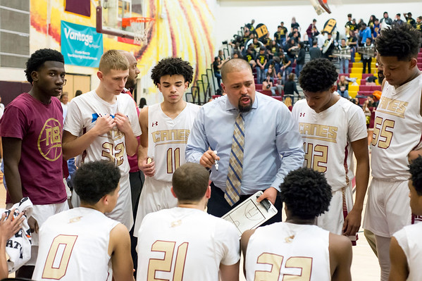 02/03/20 Wesley Bunnell | StaffrrNew Britain boys basketball vs Middletown on Monday night at New Britain High School. Head Coach Kurt Reis addresses his team.