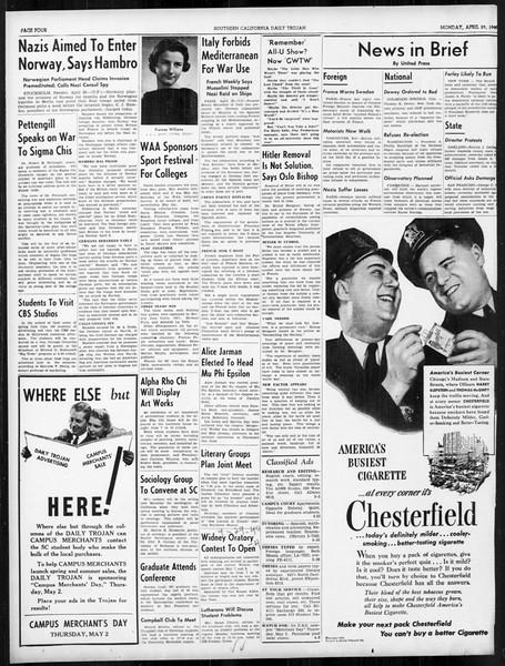Daily Trojan, Vol. 31, No. 133, April 29, 1940