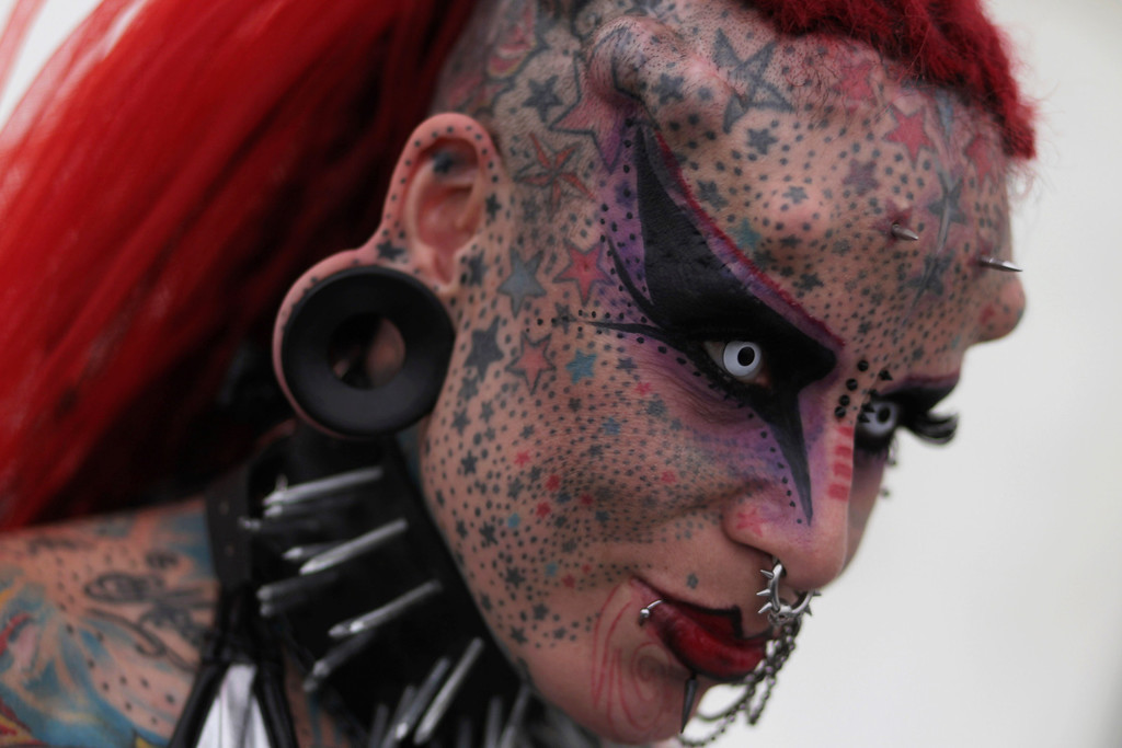. Maria Jose Cristerna, 36, a tattoo artist and a former lawyer from Guadalajara Mexico, poses for a picture at the Latin American Extreme Fest 2012, in Guatemala City, September 22, 2012.   REUTERS/Jorge Dan Lopez