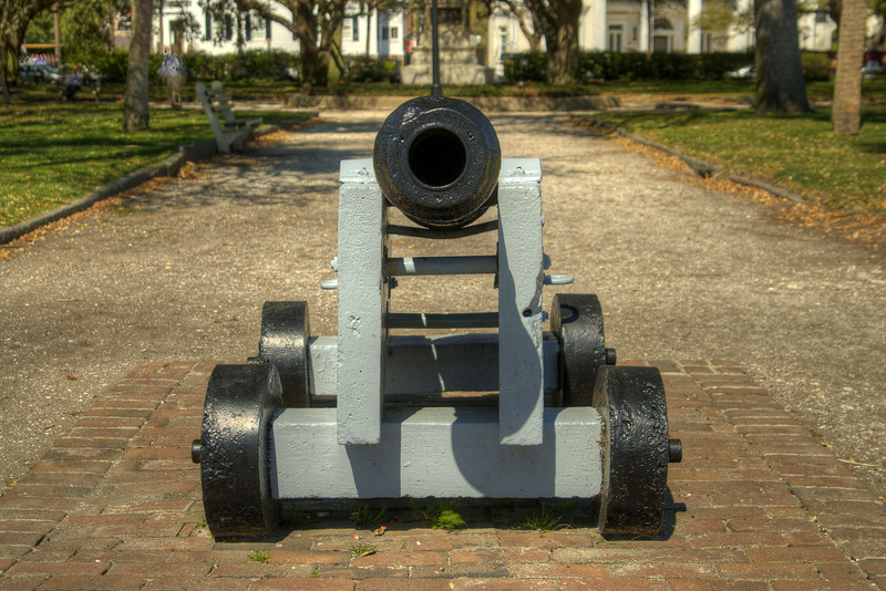 A small canon sits on display in a walkway at White Point Gardens in The Battery in downtown Charleston, SC on Saturday, March 9, 2013. Copyright 2013 Jason Barnette