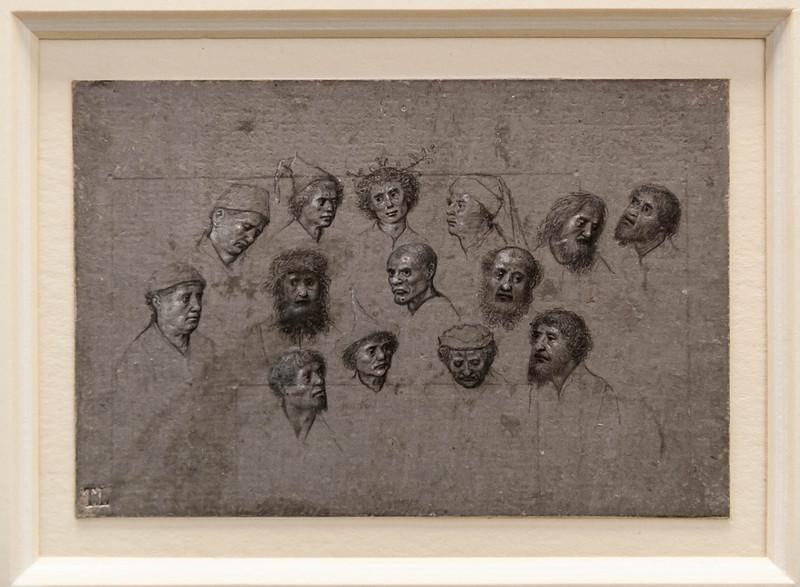 Meister des Älteren Gebetbuchs Maximilians I. (zugeschr.): 14 männliche Studienköpfe [Um 1480-90, Kupferstichkabinett Berlin]