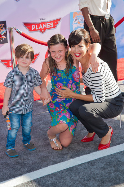 HOLLYWOOD, CA - AUGUST 05: Actress Catherine Bell, son Ronan Beason and daughter Gemma Beason arrive at the Los Angeles premiere of 'Planes' at the El Capitan Theatre on Monday August 5, 2013 in Hollywood, California. (Photo by Tom Sorensen/Moovieboy Pictures)