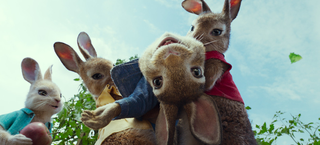 ". ""Peter Rabbit\"" is voiced by James Corden, Daisy Ridley, Elizabeth Debicki and Margot Robbie. The movie is in theaters Feb. 9. (Sony Pictures)"
