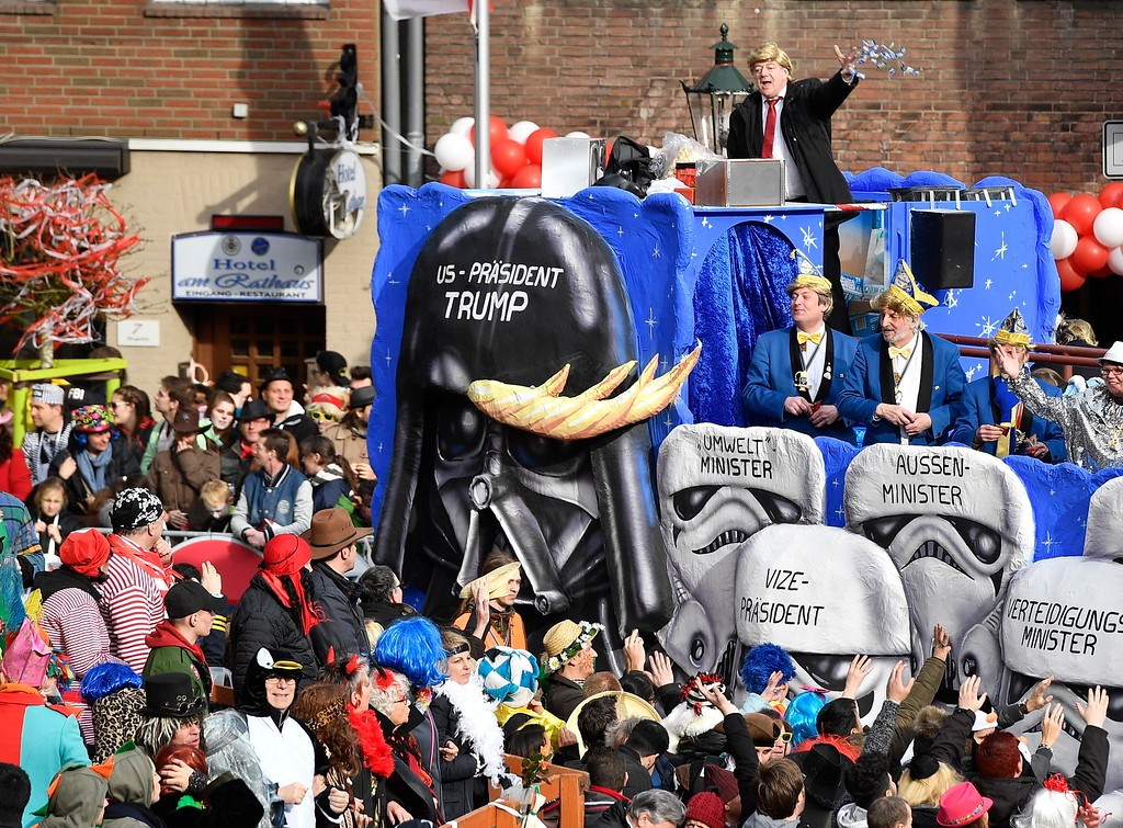 . A carnival float depicts US president Donald Trump as Darth Vader and his cabinet as storm troopers at the traditional carnival parade in Duesseldorf, Germany, on Monday, Feb. 27, 2017. The foolish street spectacles in the carnival centers of Duesseldorf, Mainz and Cologne, watched by hundreds of thousands of people, are the highlights in Germany\'s carnival season on Rosemonday. (AP Photo/Martin Meissner)