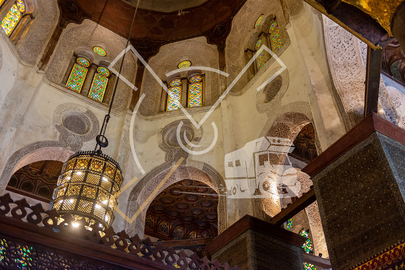 Decorated chandelier and ceilings at the Qalawun complex
