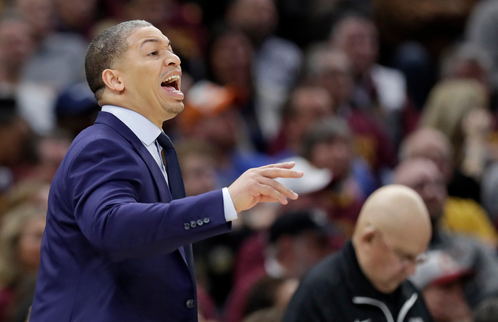 . Cleveland Cavaliers head coach Tyronn Lue yells instructions to players in the second half of Game 5 of an NBA basketball first-round playoff series against the Indiana Pacers, Wednesday, April 25, 2018, in Cleveland. The Cavaliers won 98-95. (AP Photo/Tony Dejak)