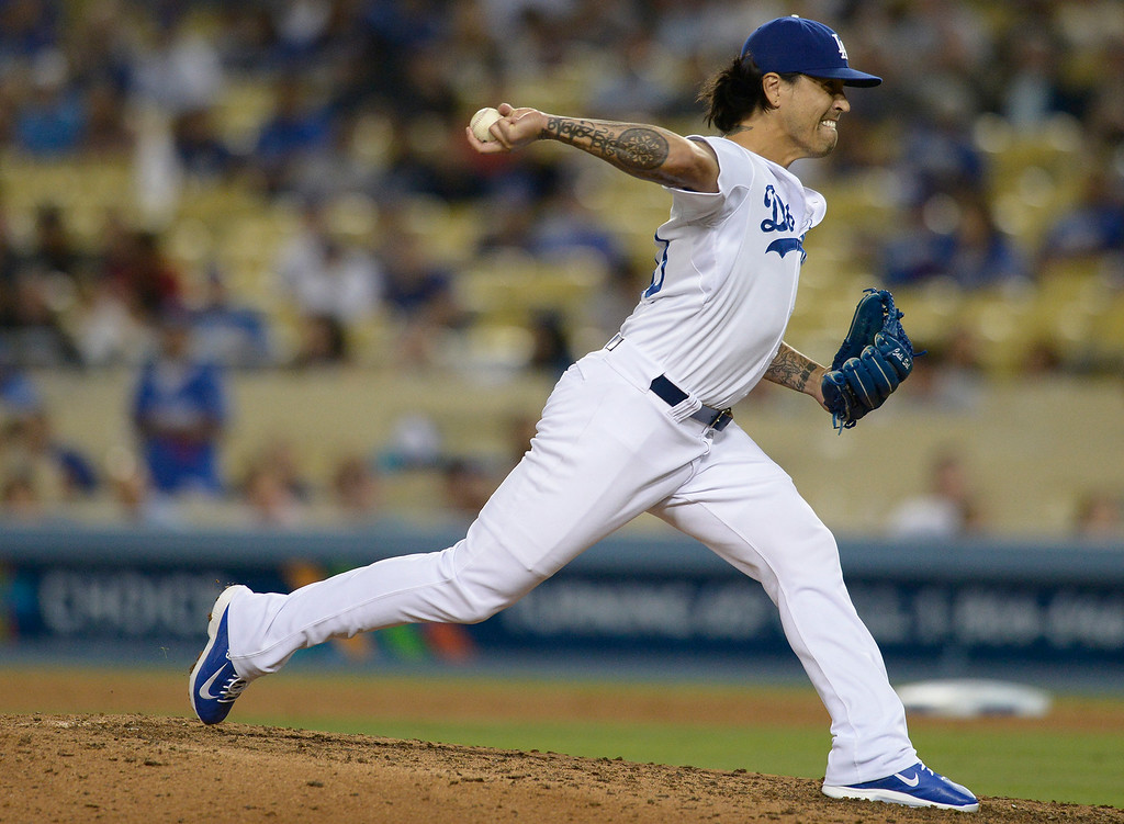 . Brandon League on the mound. The Dodgers defeated the San Diego Padres 8-6 at Dodger Stadium. Los Angeles, CA. 8/19/2014(Photo by John McCoy Daily News)