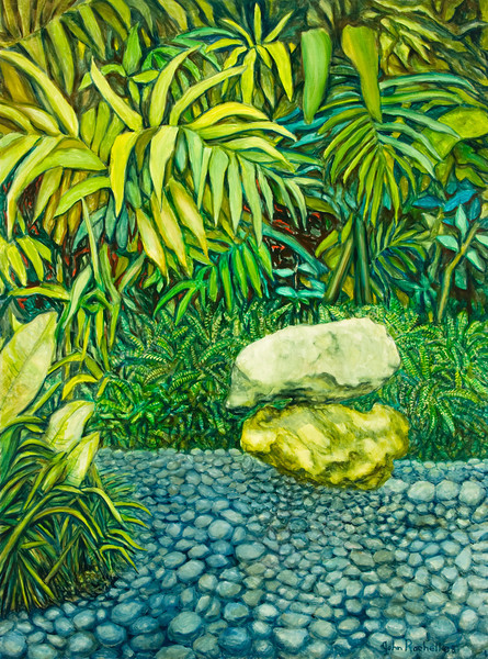 """© 2008 John Rachell Title: Garden, February 10, 2008 Image Size: 36"""" w by 48"""" d Dated: 2008 Medium and Support: Oils on linen Signed: LR Signature"""