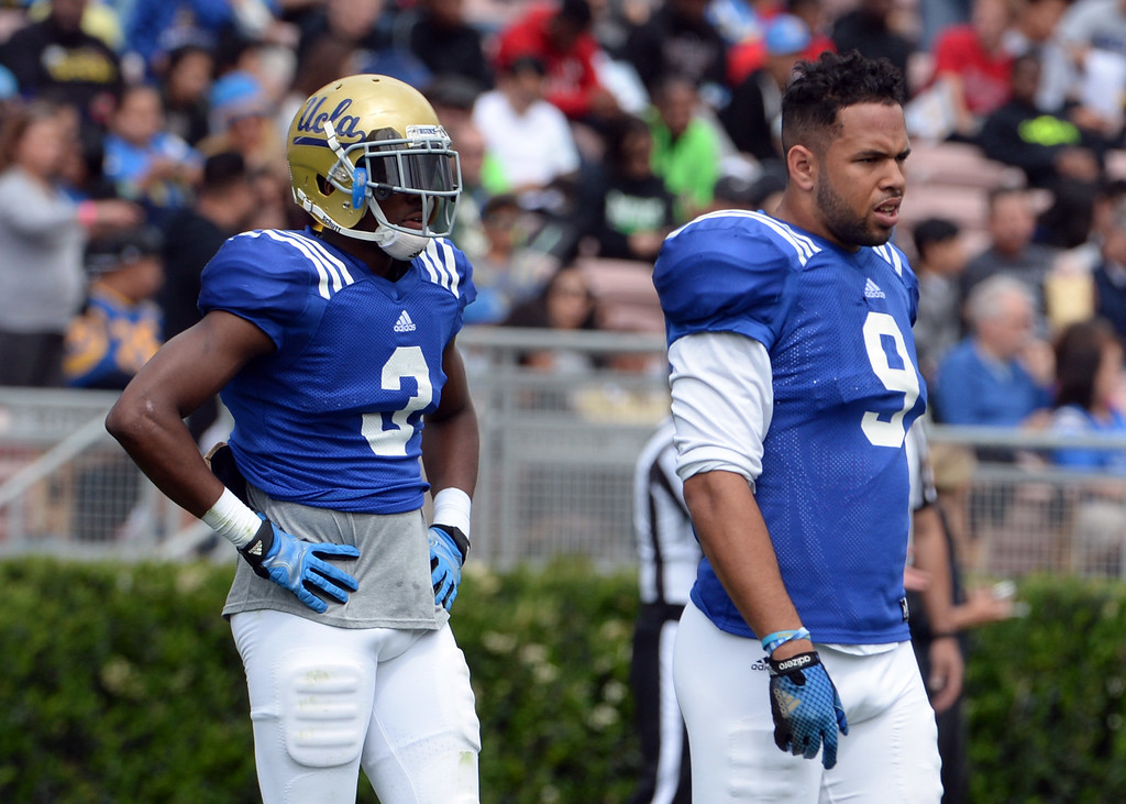 . UCLA Bruins wide receiver Jordan Lasley (3) with wide receiver Jordan Payton (9) during a NCAA college spring football game at the Rose Bowl in Pasadena, Calif., Saturday, April 25, 2015.