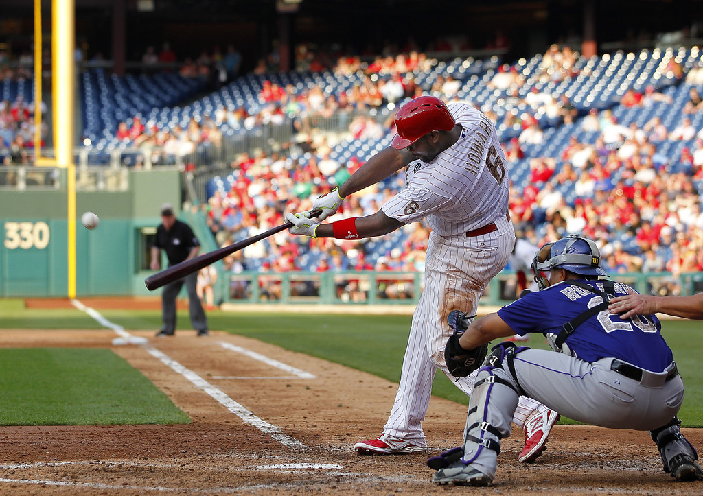 . Ryan Howard #6 of the Philadelphia Phillies hits a two-run home run against the Colorado Rockies during the sixth inning in a game at Citizens Bank Park on May 26, 2014 in Philadelphia, Pennsylvania. (Photo by Rich Schultz/Getty Images)