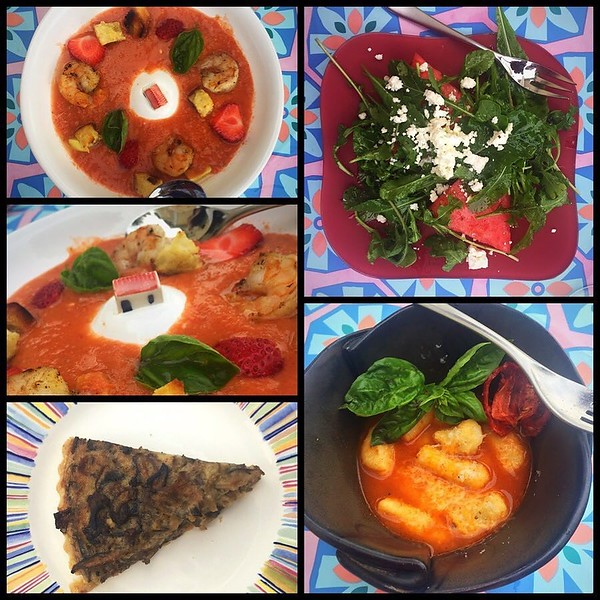 On the table tonite: clockwise from upper right: watermelon, arugula and feta salad; gazpacho with shrimp and baguette croutons; wild mushroom tart; gnocchi with tomato broth