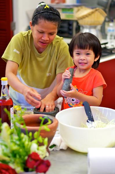 Getting ready to make Som Tum (Papaya Salad)