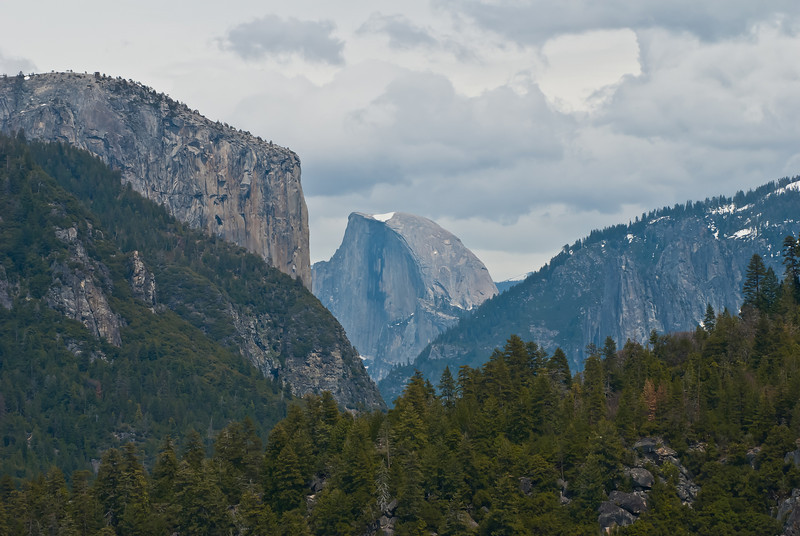 When you drive into Yosemite Valley from CA-120 there's a pullout that has some nice views of El Capital (on the left) and Half Dome. They're pretty far away so I had to get out my 70-300mm lens to get a good shot, but since it's so far away, the shots always appear somewhat foggy like this one. The tunnel view is a much better view, but this turn-out is a place I always pull over at! I was walking around with both my D300s (with the 17-35mm lens) and my D80 (with the 70-300mm lens) and everyone kept thinking I was a *real* photographer!
