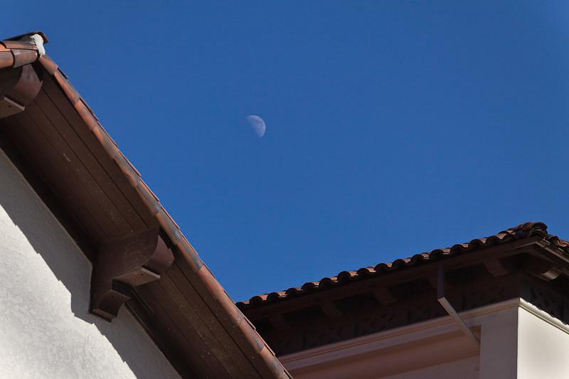 January 12 - Moon over church, Olvera Street, Los Angeles