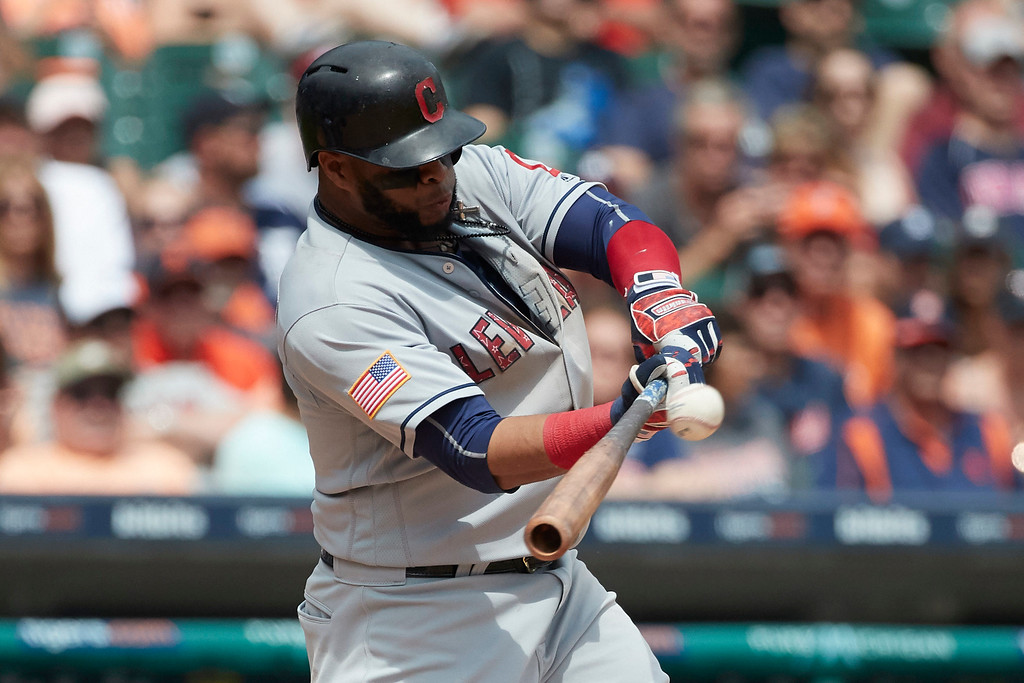 . Cleveland Indians Carlos Santana hits a two-run home run in the seventh inning against the Detroit Tigers in the first baseball game of a doubleheader in Detroit, Saturday, July 1, 2017. (AP Photo/Rick Osentoski)