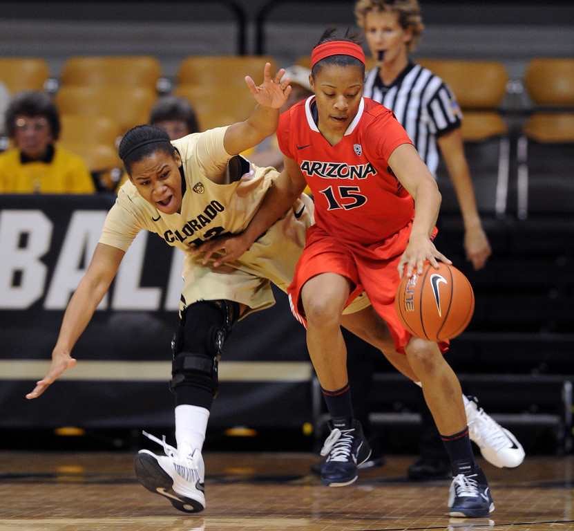 . Keyahndra Cannon of Arizona, keeps the ball from Ashley Wilson of Colorado, during the first half of the January 20th, 2013 game in Boulder. Cliff Grassmick/The Daily Camera