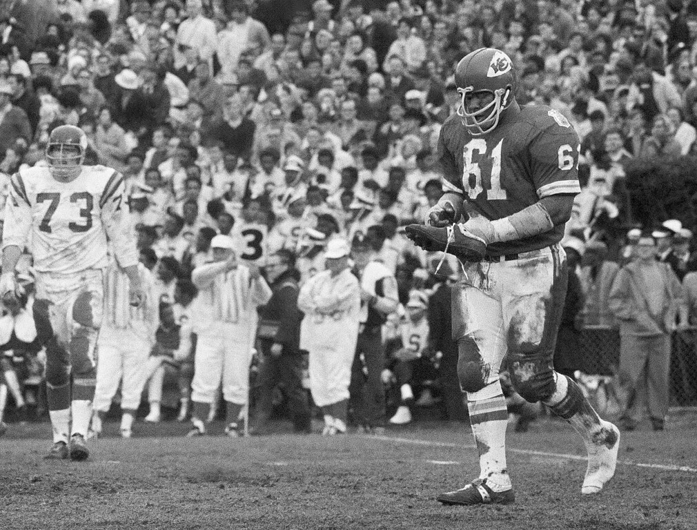 . FILE - In t his Jan. 11, 1970, file photo, Kansas City defensive tackle Curley Culp heads towards the sidelines after losing a shoe during NFL football\'s Super Bowl IV against the Minnesota Vikings in New Orleans. Culp was selected to the Pro Football Hall of Fame on Saturday, Feb. 2, 2013. (AP Photo/JS, File)