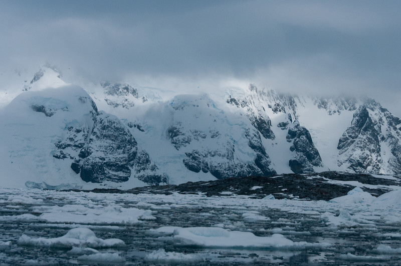 Snow covered mountains in Pleneau Bay, Antarctica