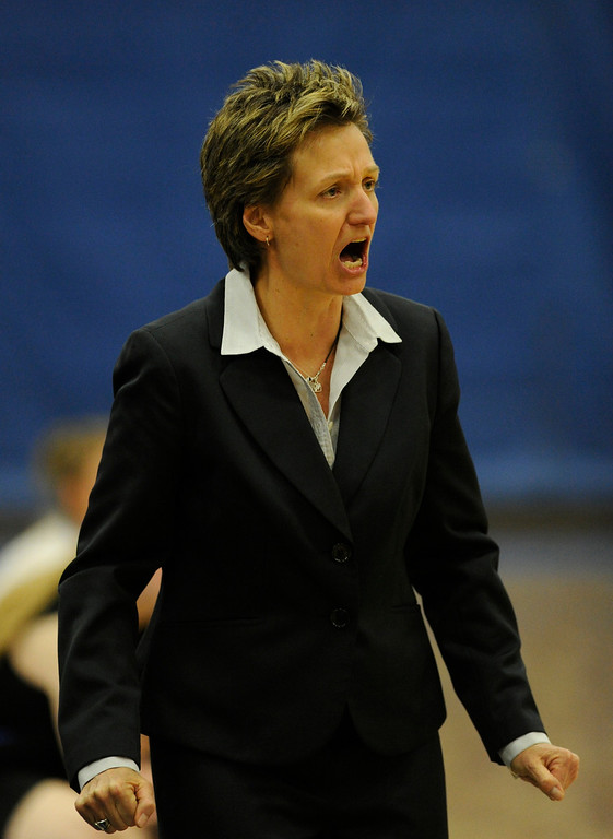 . PARKER, CO. - FEBRUARY 15: Highlands Ranch coach Caryn Jarocki encouraged her players on defense in the first half Friday night. The Legend High School girls\'s basketball team hosted Highlands Ranch Friday night, February 15, 2013. (Photo By Karl Gehring/The Denver Post)