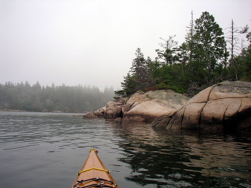 Around Hen Island.  We would have seen much more of this glaciated granite if not for fog.