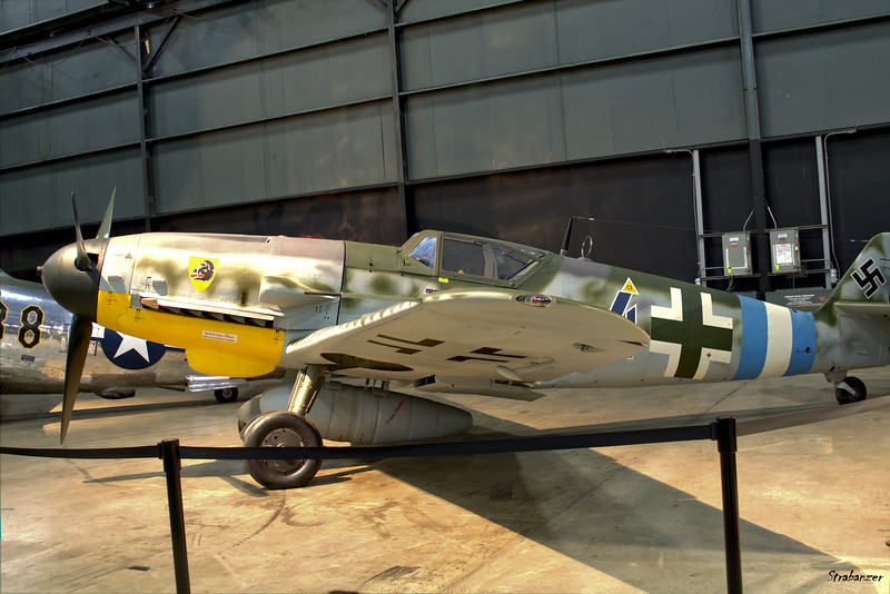 National Museum of the United States Air Force, Dayton, Ohio,   04/12/2019  Messerschmitt Bf 109G-10 c/n 127914   610824 painted to represent an aircraft from Jagdgeschwader 300  This work is licensed under a Creative Commons Attribution- NonCommercial 4.0 International License.