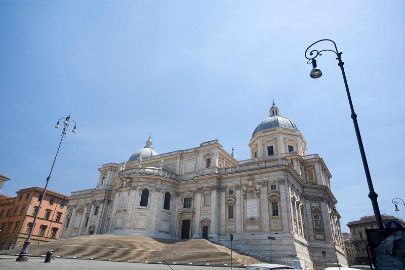 Rear view of the basilica of Santa Maria Maggiore from Esquilino square, Rome