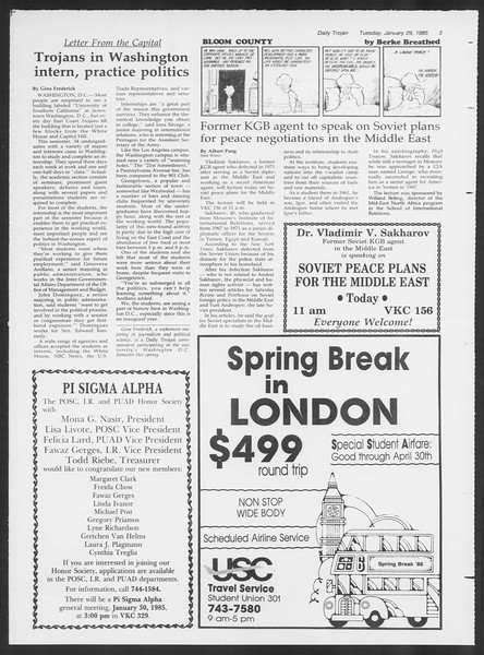 Daily Trojan, Vol. 98, No. 13, January 29, 1985